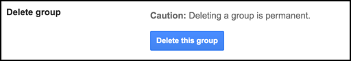option to delete remove kill group google groups