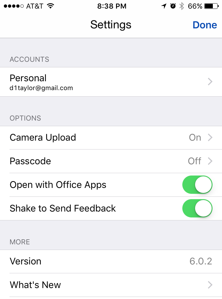 onedrive for iphone ipad ios9 settings customization preferences