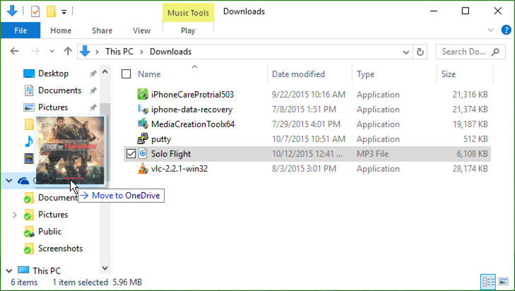 drag and drop music file onto OneDrive win10