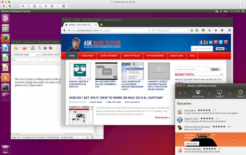 ubuntu linux with unity wm in vmware fusion on apple mac os x