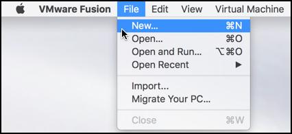 vmware fusion file > new virtual machine