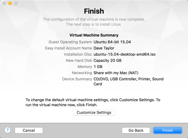 finish ready to install linux mac os x macbook