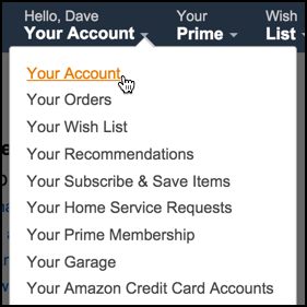 amazon account menu