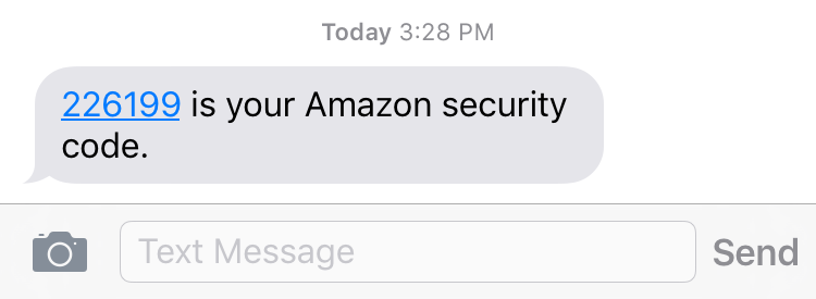amazon 2-step secret pin code received imessage apple iphone