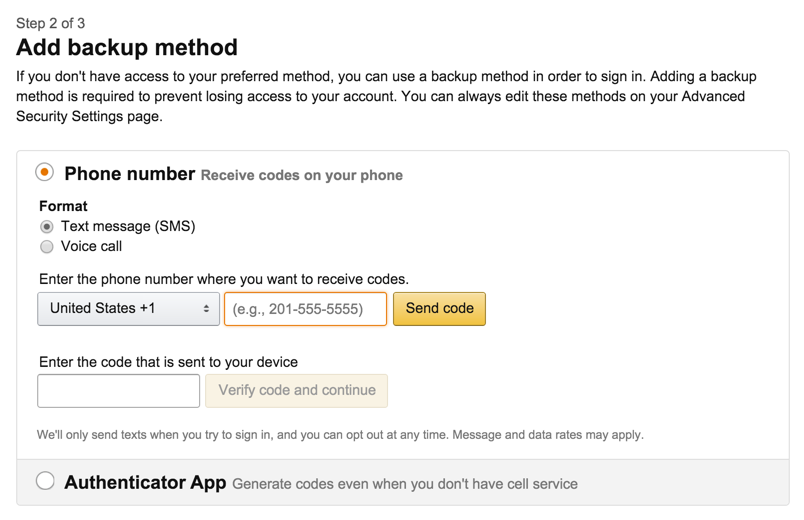 set up backup phone number for 2-step verification