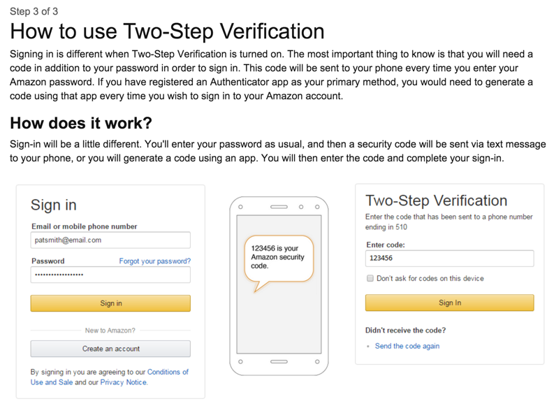 how two-step account verification login works on amazon.com