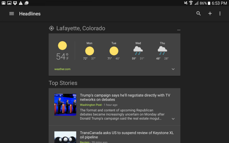 android news and weather app, U.S. edition