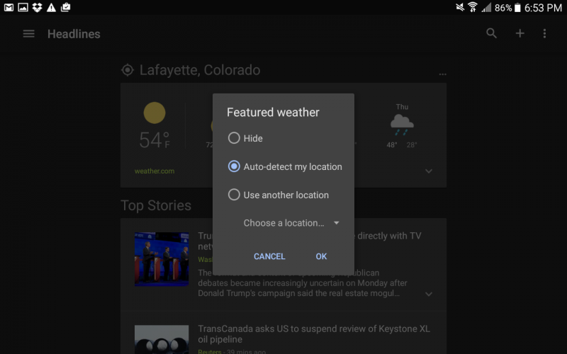 stop auto-locating weather information app android