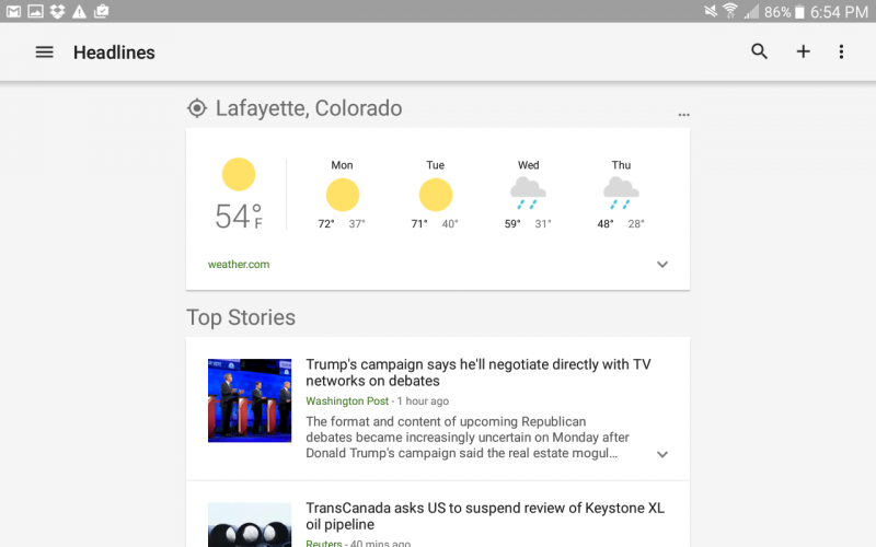 android news and weather app, light version of ui interface screen