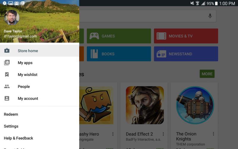 google play store menu preferences settings options update