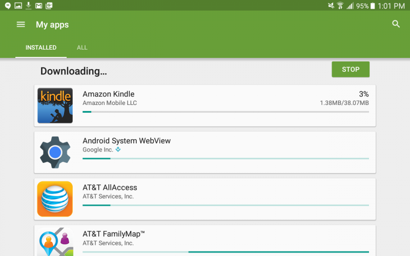downloading updating installing app updates android L google play store