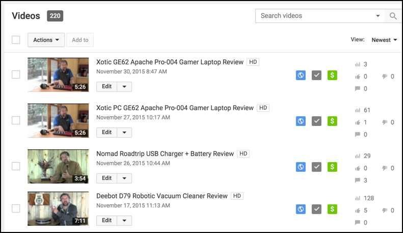 list of youtube channel videos for owner view