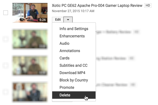 video manager options for youtube video