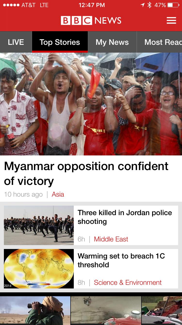 bbc news app on the apple iphone 5 6 6s plus