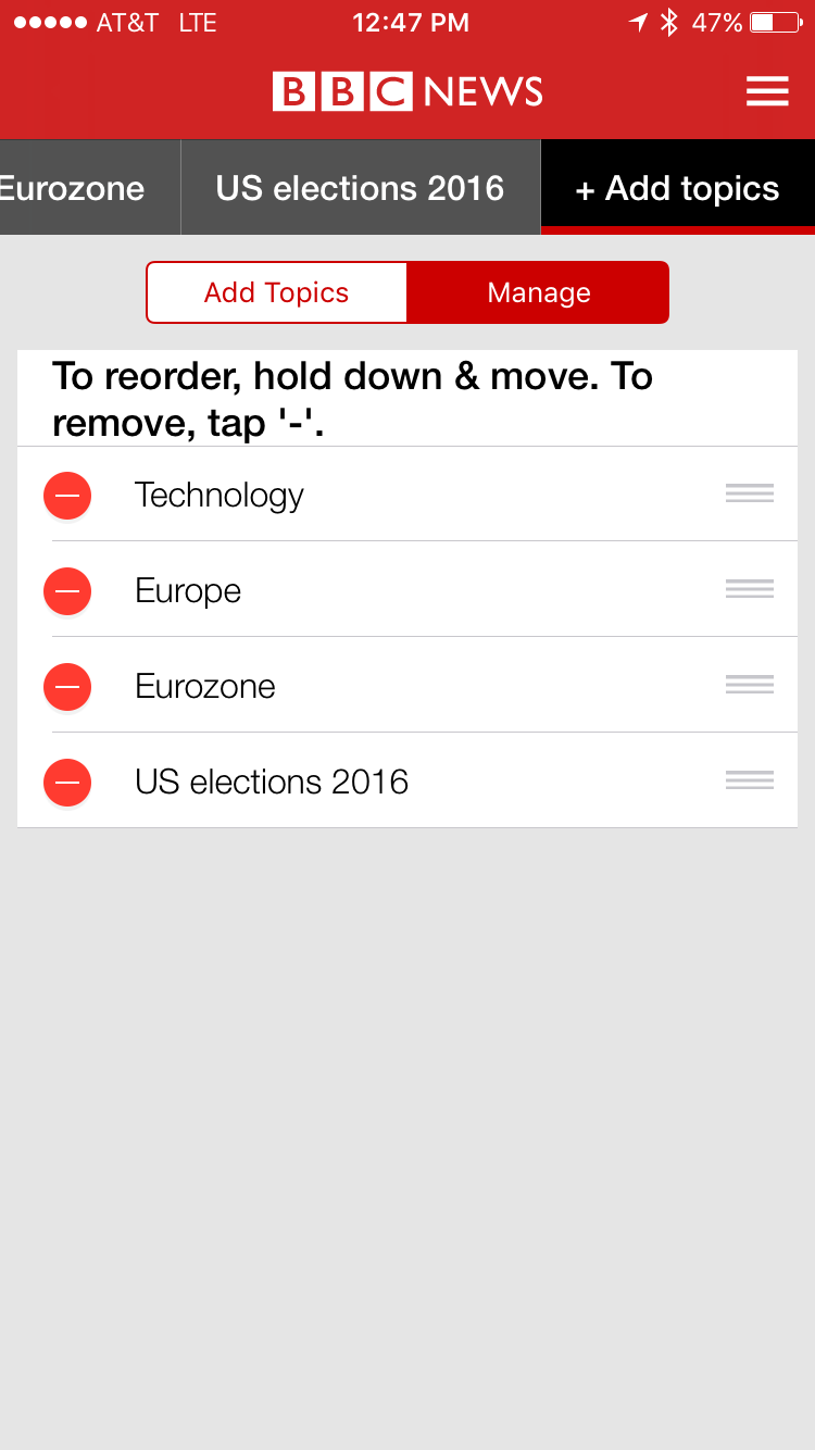 reorder favorite news topics bbc news app