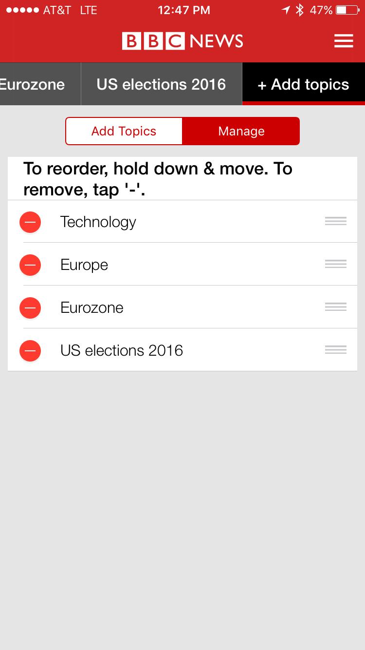 reorder favorite news topics bbc news app