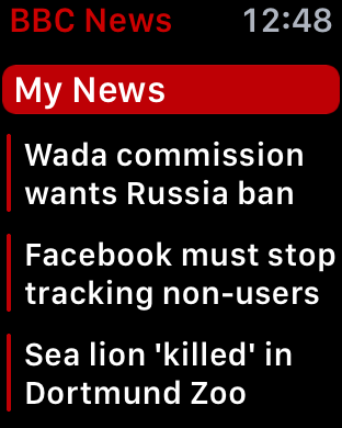 customized bbc news app apple watch my news section