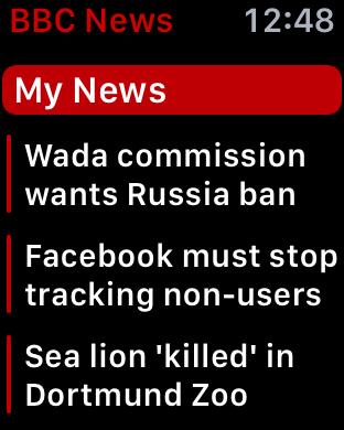 customized bbc news app apple watch my news section