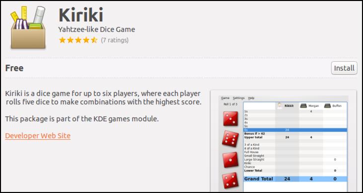 kiriki, a yahtzee dice game for ubuntu linux free download