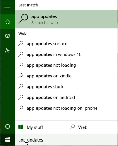 search for app updates in win10 windows 10