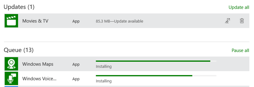 updates and queue check for updates programs apps windows 10