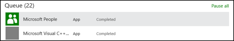 completed app update win10