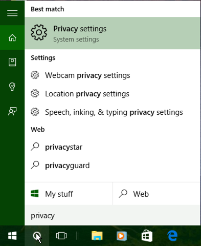 search for privacy microsoft windows 10 win10 cortana
