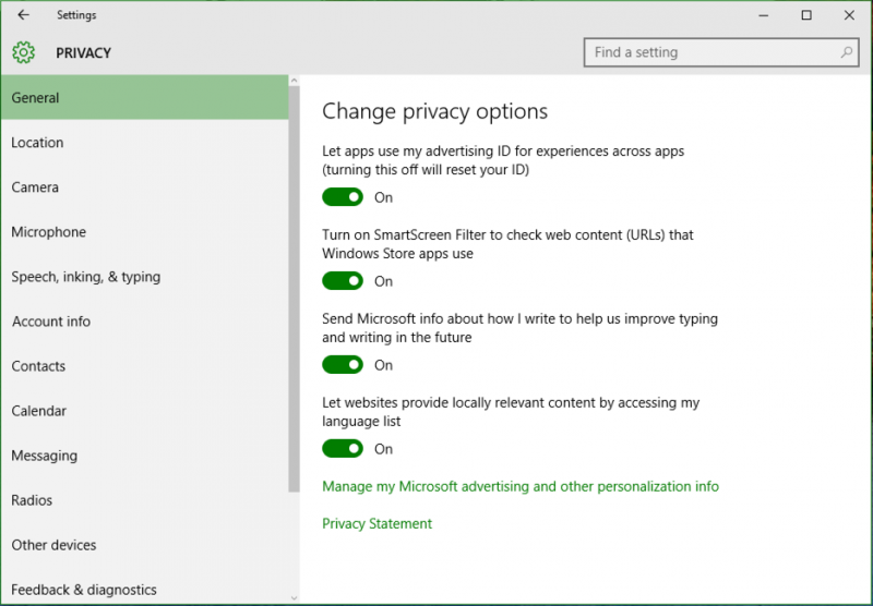 win10 advertising id smartscreen filter settings privacy options preferences
