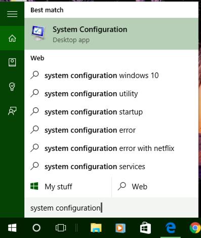 win10 system configuration cortana search tool menu