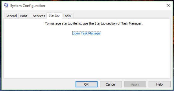 system configuration tool says go elsewhere startup programs, microsoft win10