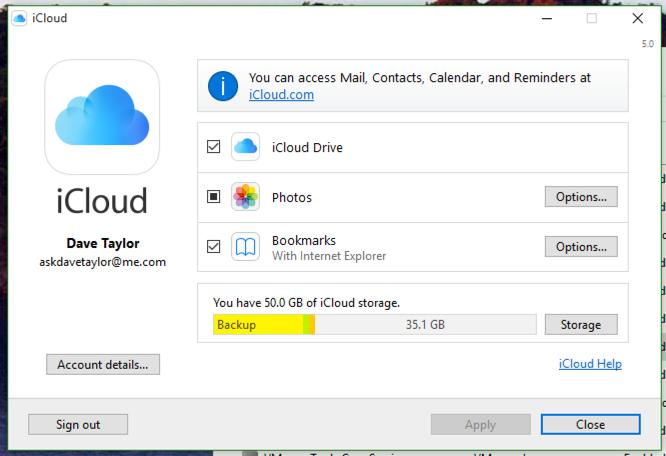 windows apple icloud control management settings window