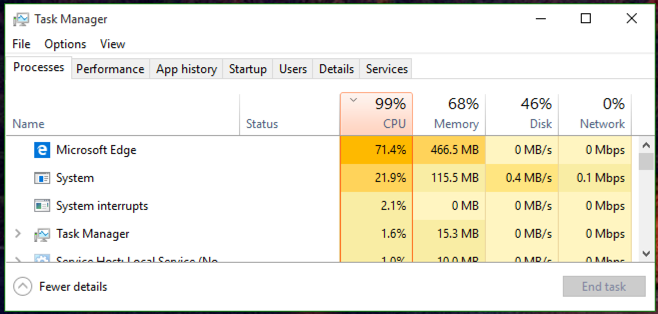 tasks by cpu usage windows 10 win10 task manager