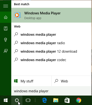 cortana search windows media player win10 windows 10
