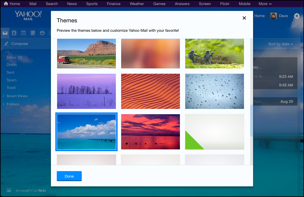 yahoo mail with a new photo background wallpaper theme