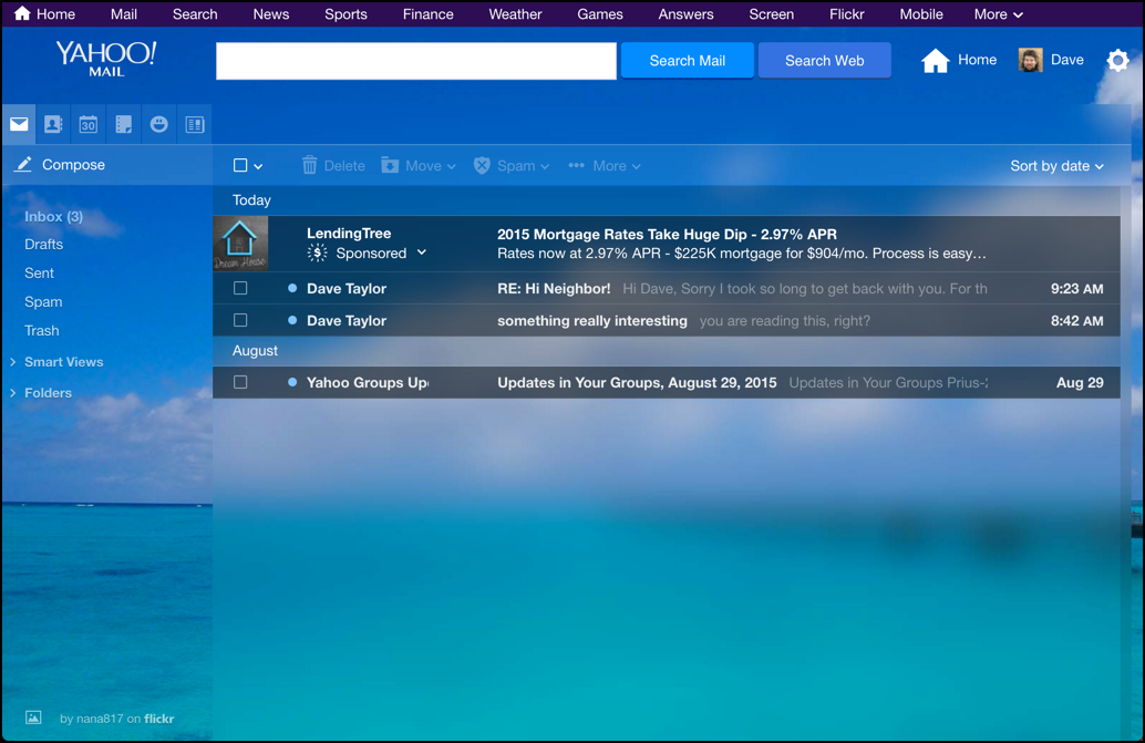 yahoo mail with new custom theme background photo picture wallpaper