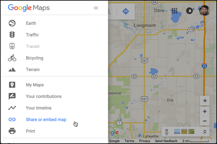 google maps menu options - share or embed selected