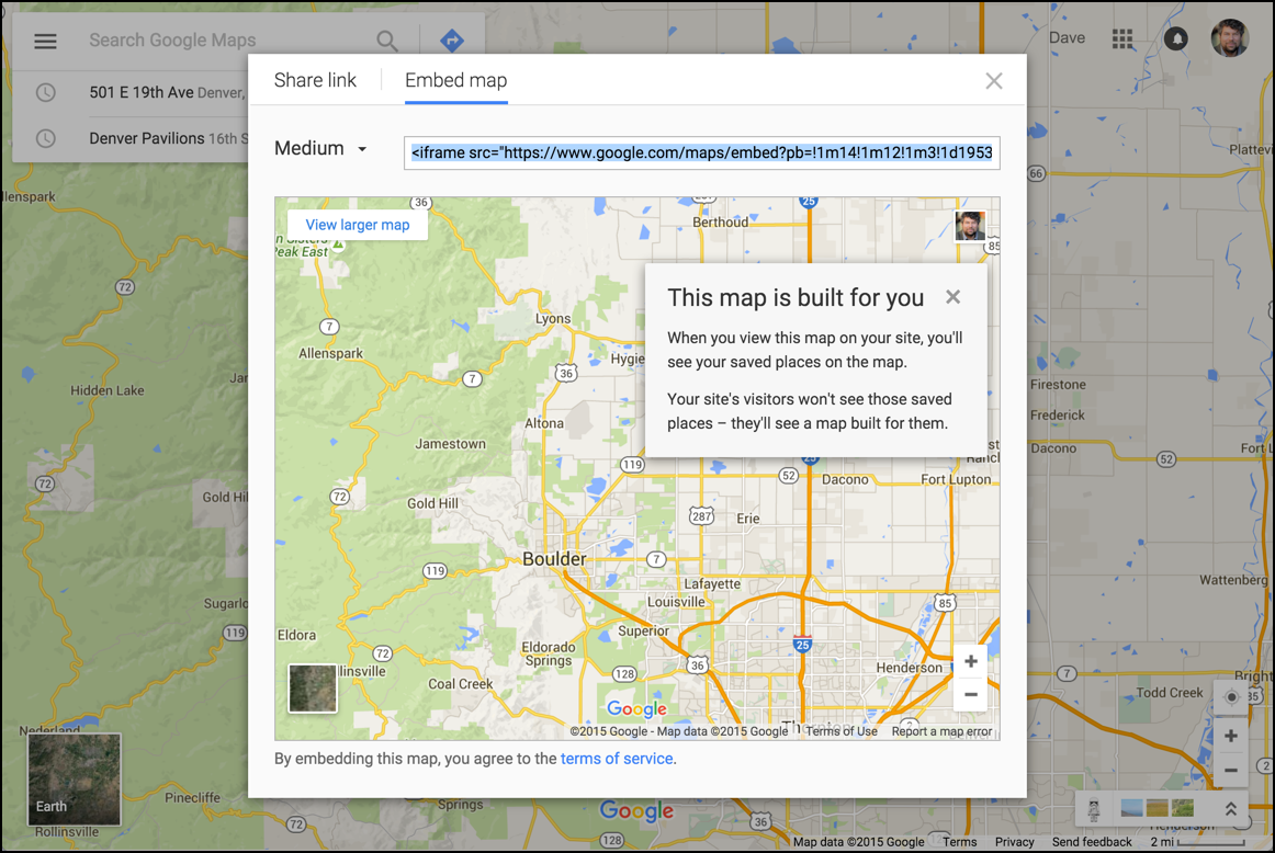 default google map embed view