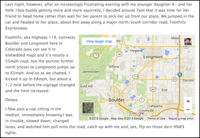 live google map embedded in wordpress blog page entry article