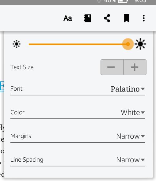 kindle app font size spacing margin color menu