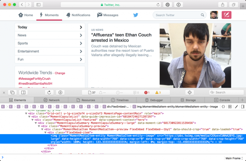 inspect element, html source, web page, apple safari