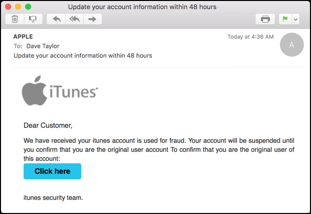 example sample apple.com itunes phishing email message