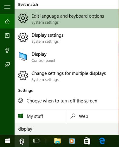 win10 windows 10 cortana search 'display' menu start