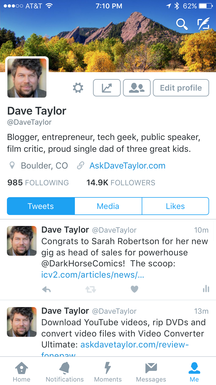 Change your Twitter Profile Photo from iPhone iOS? - Ask Dave Taylor