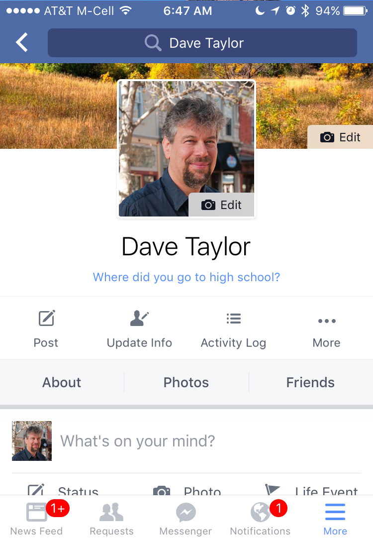 my facebook profile page in the iphone ios app
