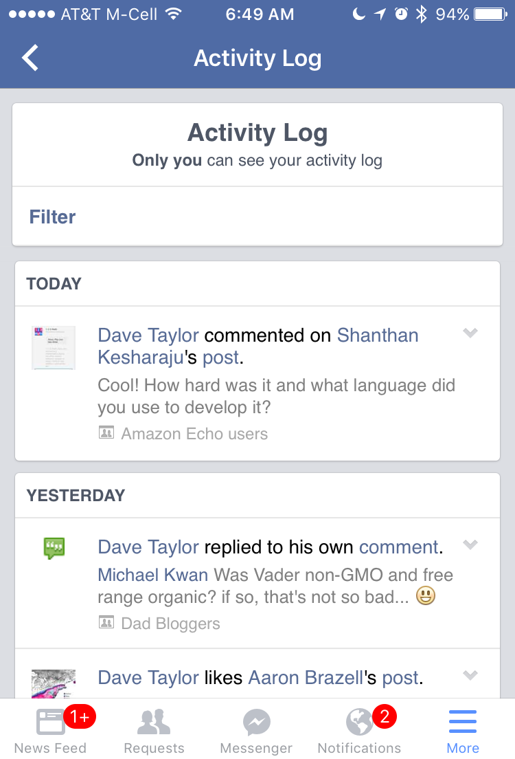 facebook activity log privacy iphone
