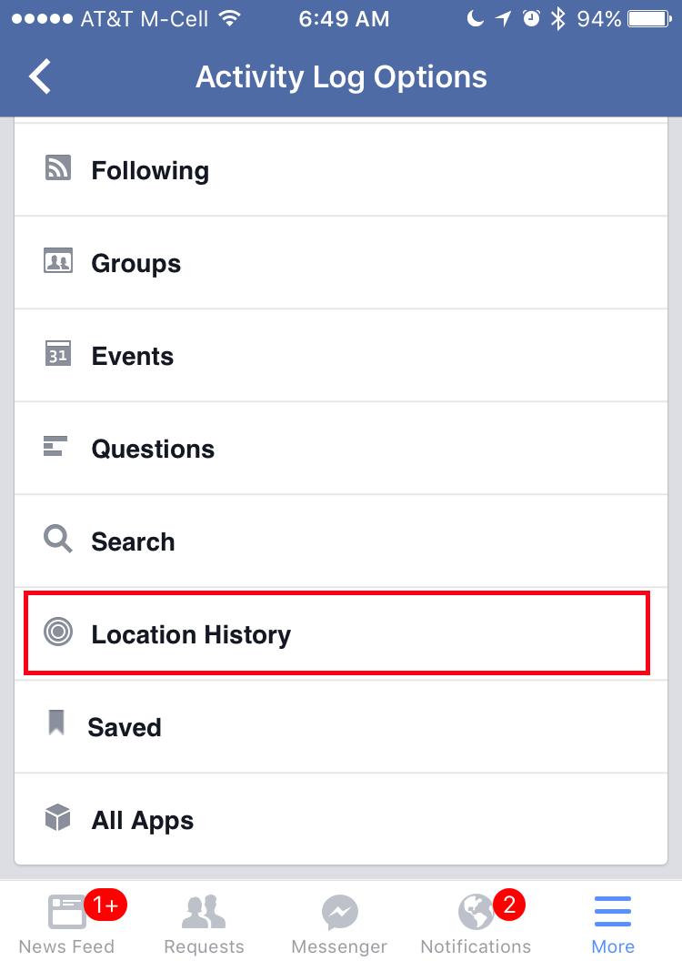 facebook activity log filter - location history