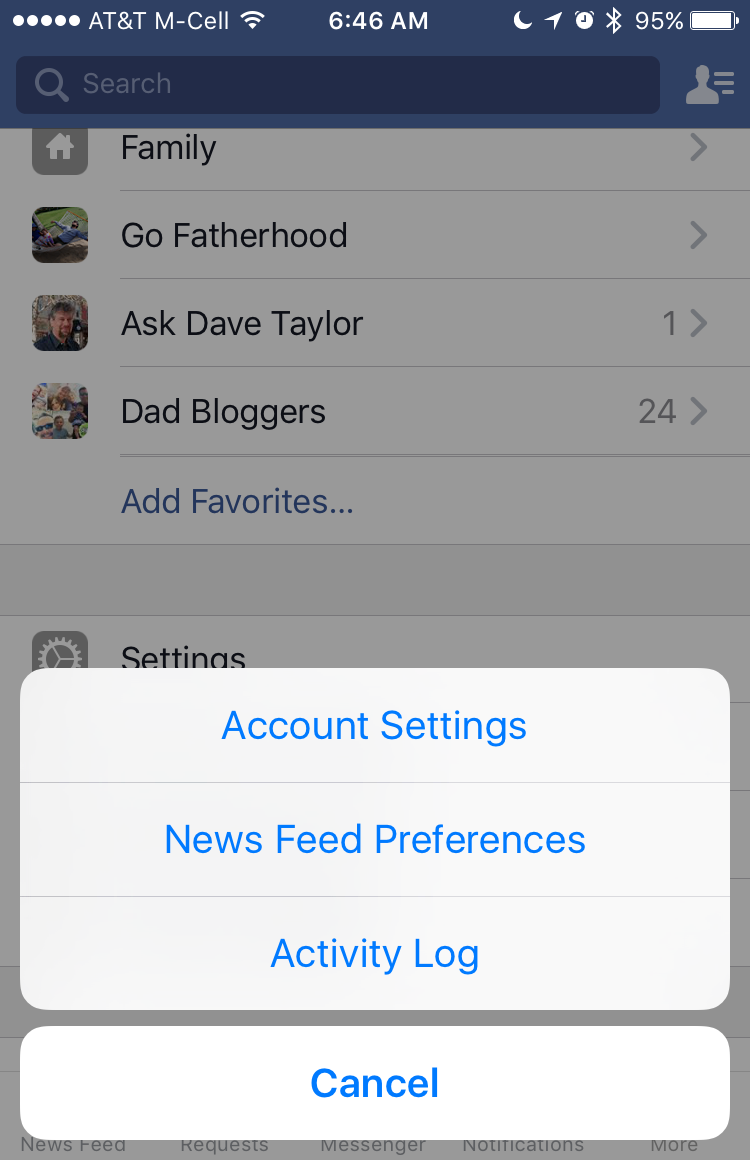 which settings do you want to change in facebook app?