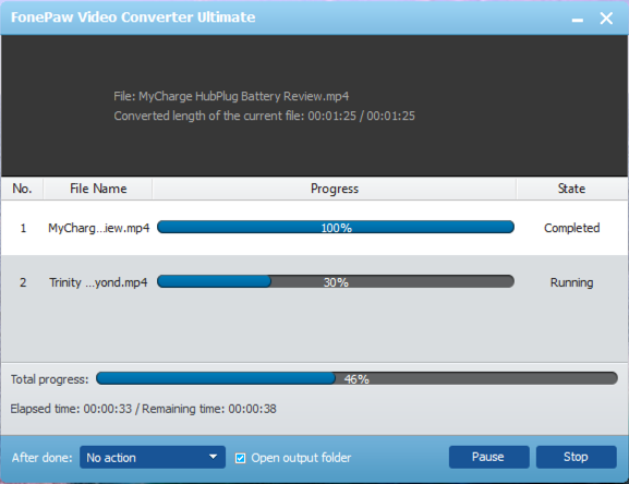 video being converted from avi to mp4