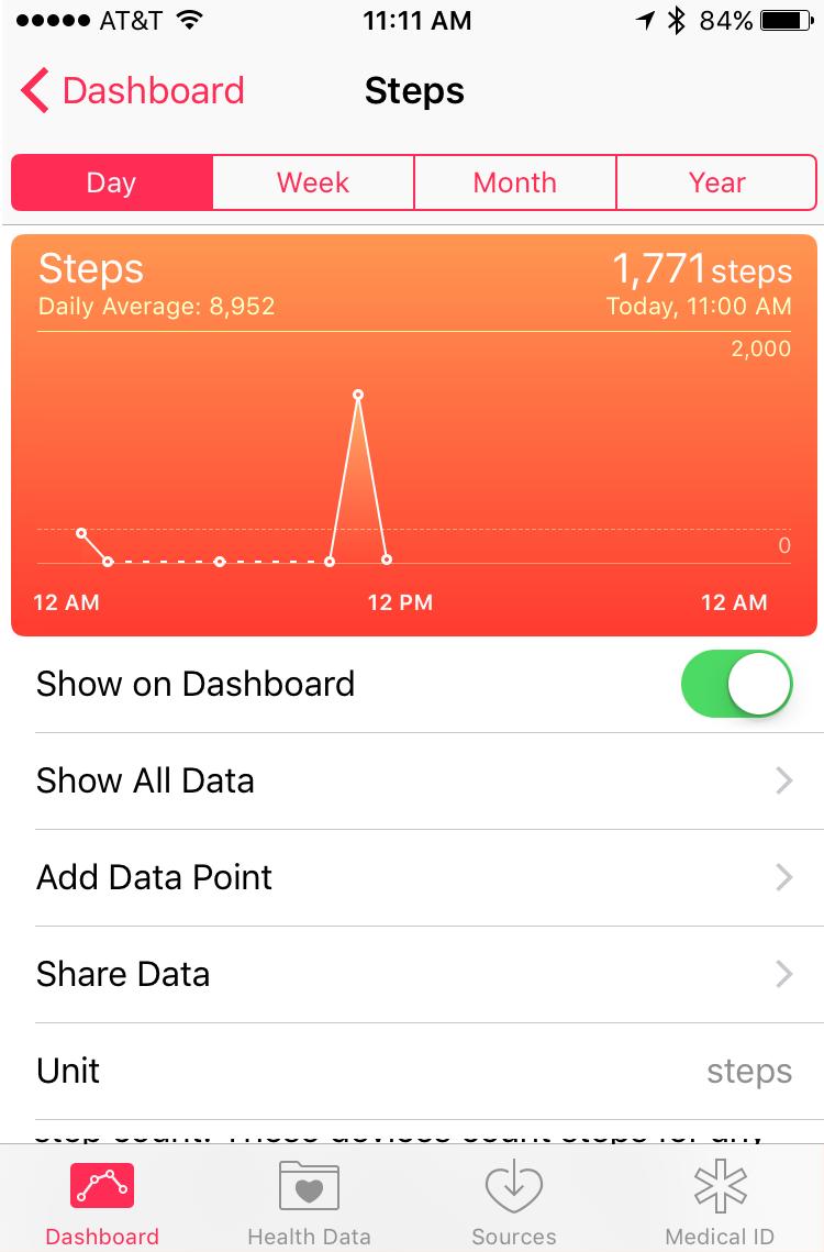 apple iphone health app ios9 recording steps