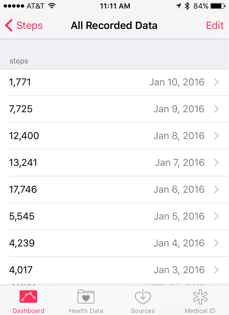 pedometer activity history data health app apple iphone
